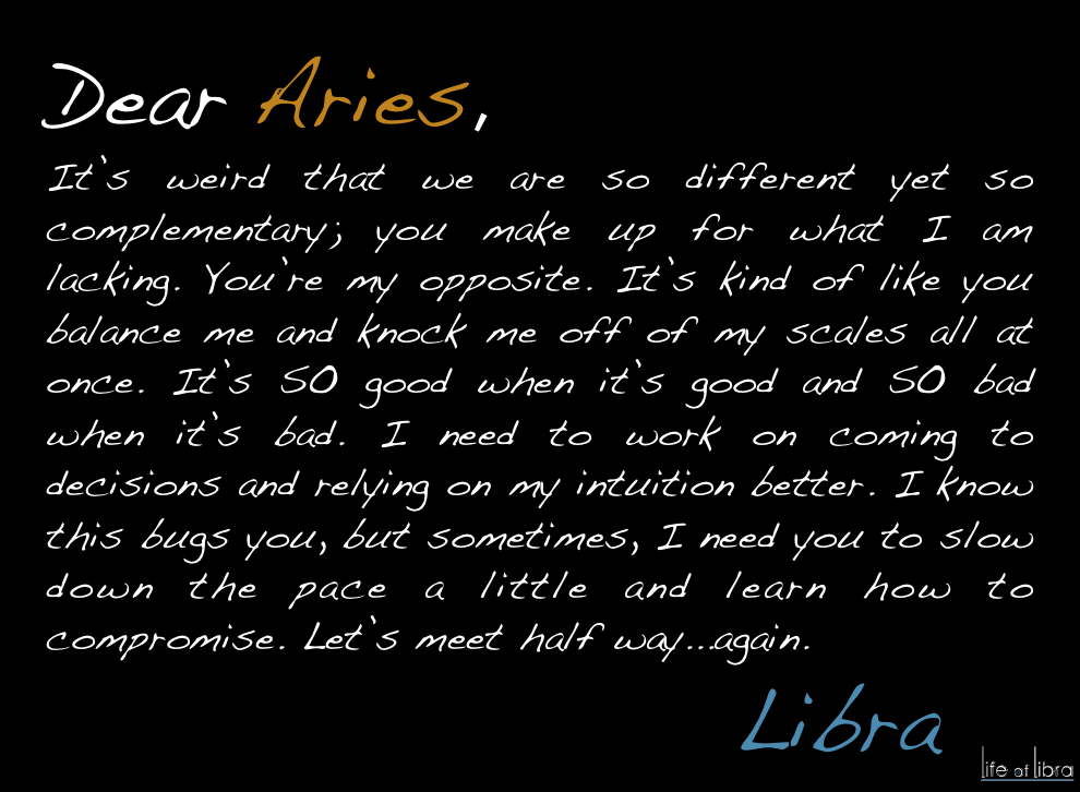 Dear Aries  From , Libra  Things I-4244