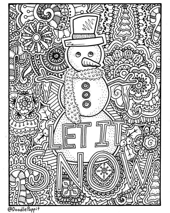 Christmas Coloring Page Book Pages Printable Adult Hand Drawn Art Therapy Instant Download Print By DoodlePoppit On Etsy
