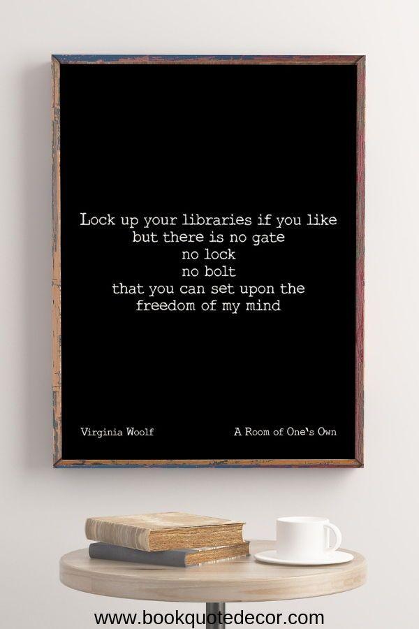 Virginia Woolf Unframed Wall Art Print Freedom Of My Mind Etsy Unframed Wall Art Elegant Wall Art Room Of One S Own