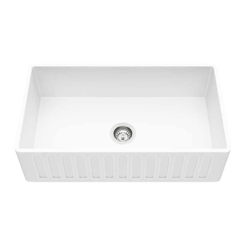 "Vigo VGRA3318CS Matte White 33"" Single Basin Matte Stone™ Kitchen Sink with Cutting Board and Basket Strainer"