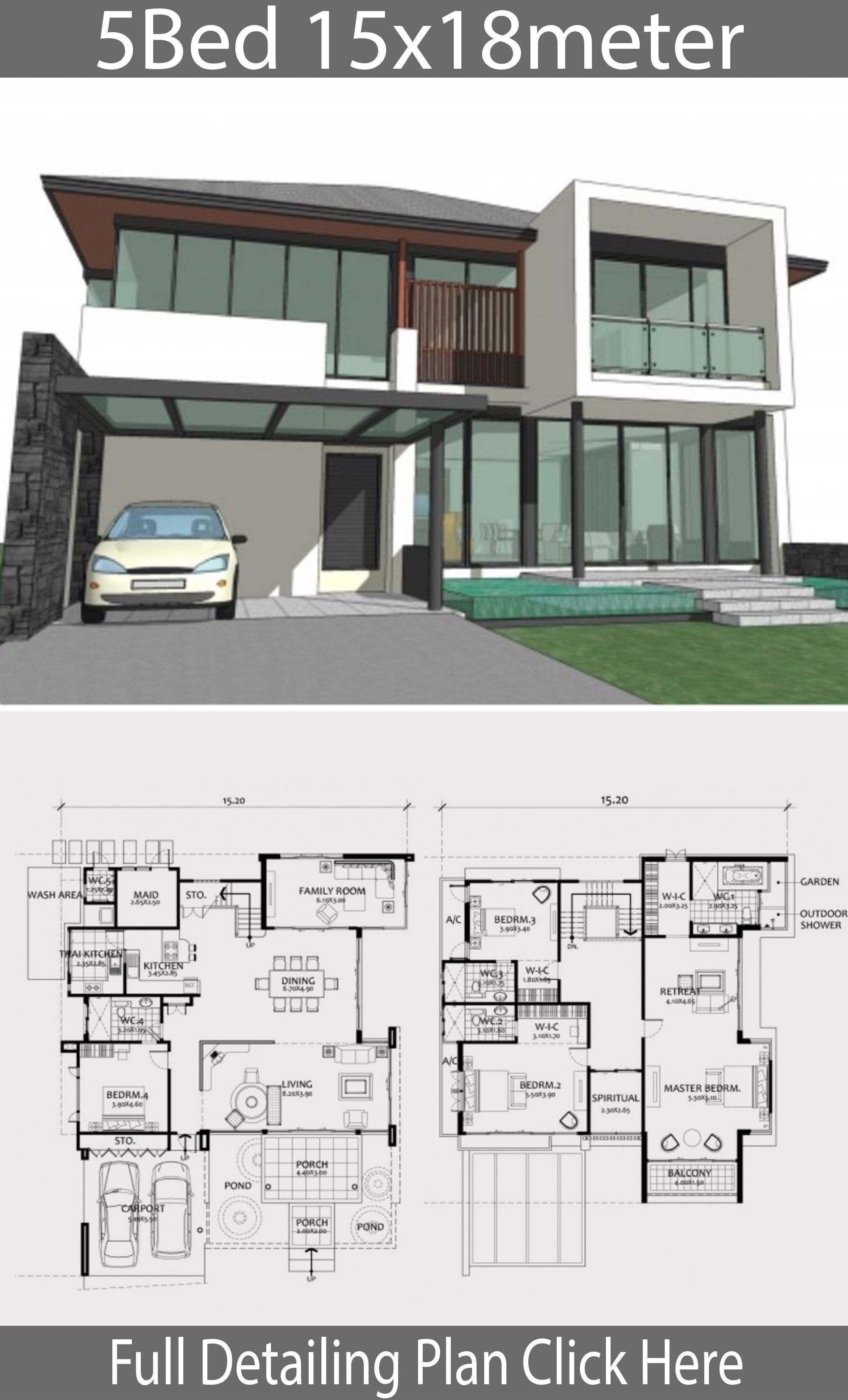 Home Design Plan 15x18m With 5 Bedrooms Home Ideas Modern House Plans Model House Plan House Plans Mansion