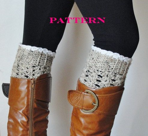 Instant Download Pattern, Lace Boot Cuffs, Boot Cuffs, Crochet Boot Socks, Boot Tops, Faux Leg Warmers, Women