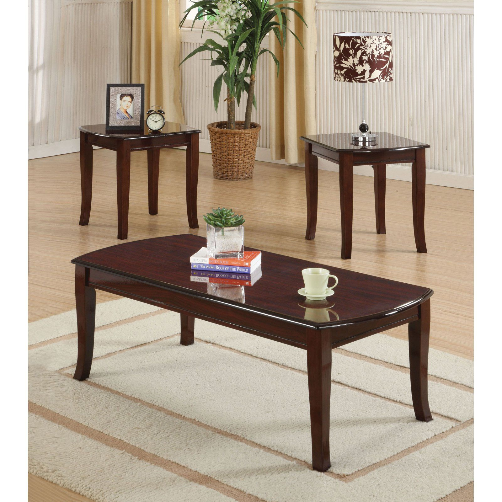 Best Acme Furniture Camarillo Cherry 3 Piece Coffee And End 640 x 480
