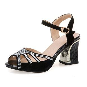 a208cf3768d Salón Peep-Toe Tacones Tacón ancho Lentejuelas Hebilla Tira al tobillo Ante  Zapatos