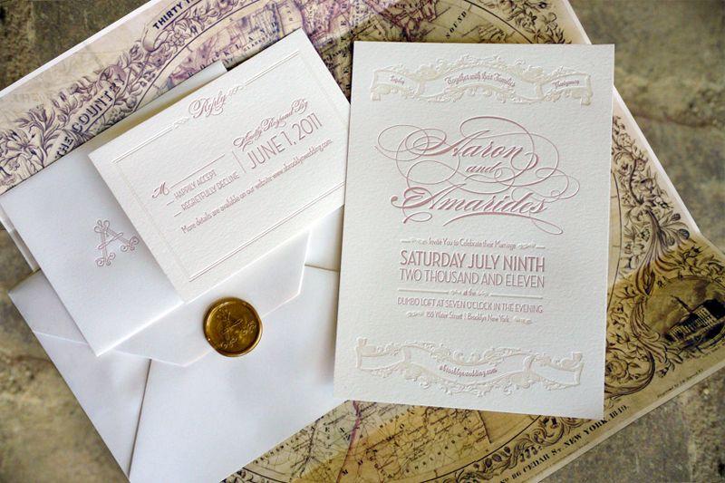 Amarides + Aaronu0027s Brooklyn Wedding Invitations Letterpresses - best of invitation english