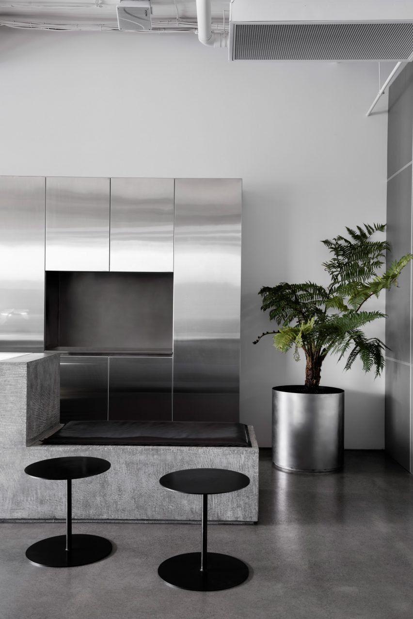 concrete and terrazzo furniture feature in ritz&ghougassian's
