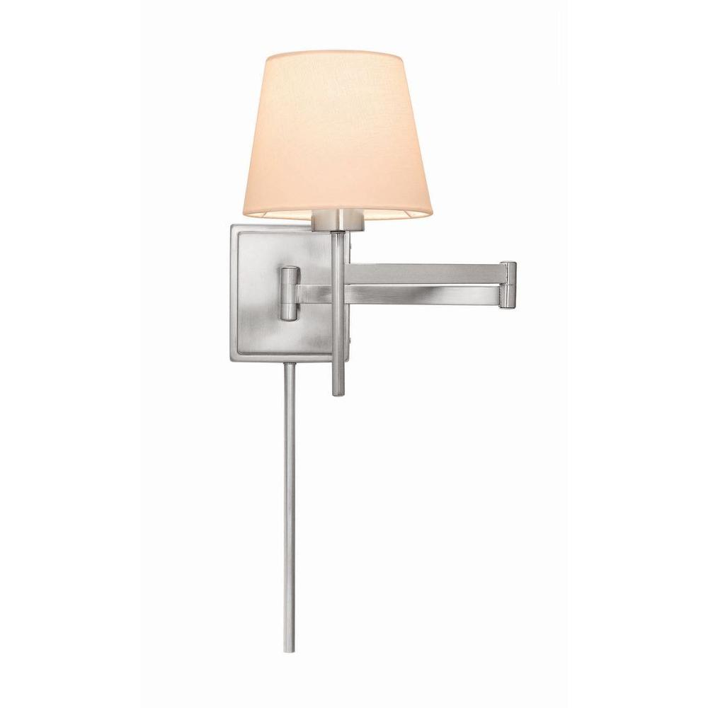 Hampton Bay 1 Light Brushed Nickel Swing Arm Wall Sconce 18020 The Home Depot Bedroom Light Fixtures Sconces Plug In Wall Sconce
