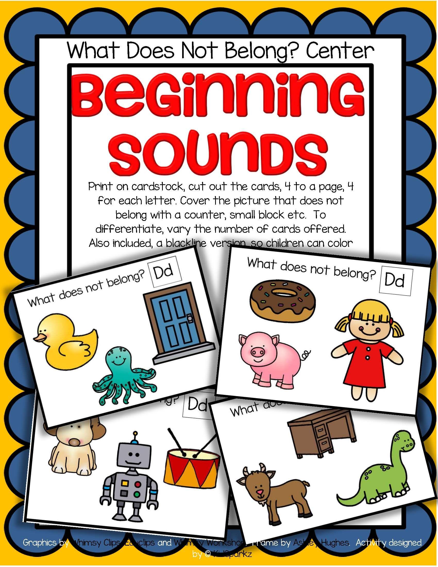 Alphabet Beginning Sounds Center And Printables