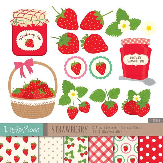 Strawberry Digital Clipart And Papers Jam Clipart Digital Clip