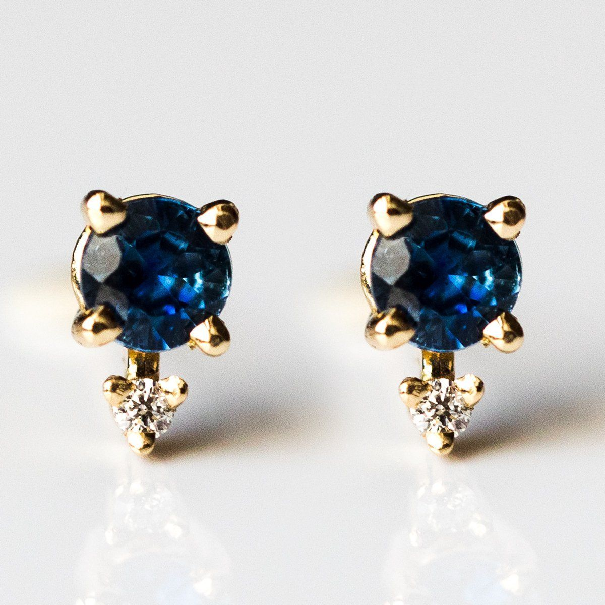 7830f2cf2 local eclectic | Tiny Two Stone Blue Sapphire & Diamond Stud Earrings  Diamond Studs,