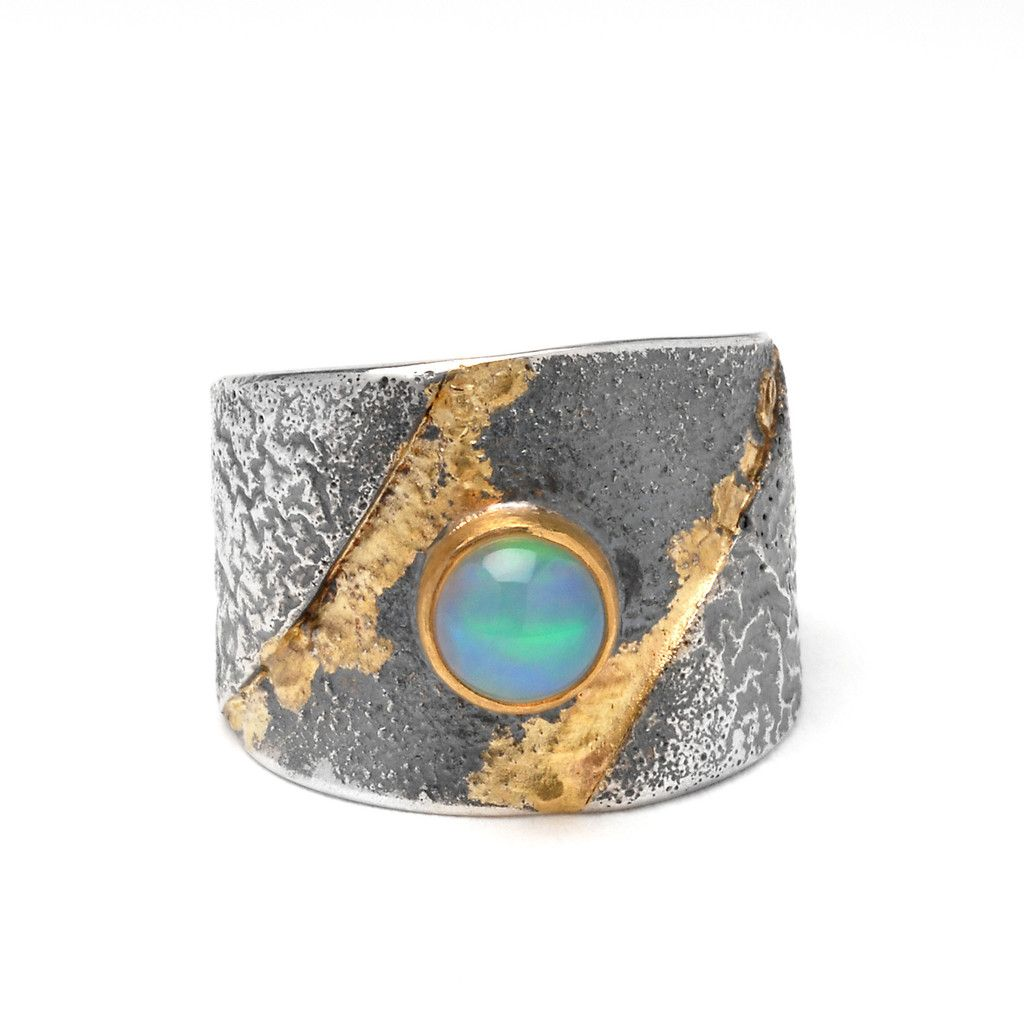 Opal Wrap Ring- by Wendy Thurlow. Sterling, 18k and 22k gold.