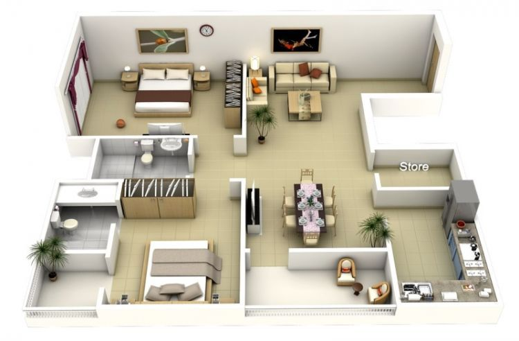 Desain Layout Rumah Sederhana Yang Indah  Homedesign  Pinterest Beauteous 2 Bedroom House Interior Designs Review