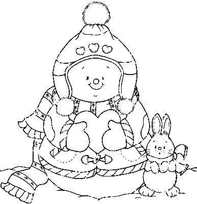 Jõuluteemalised värvi ise lehed / Winter color page: Snowman with ...
