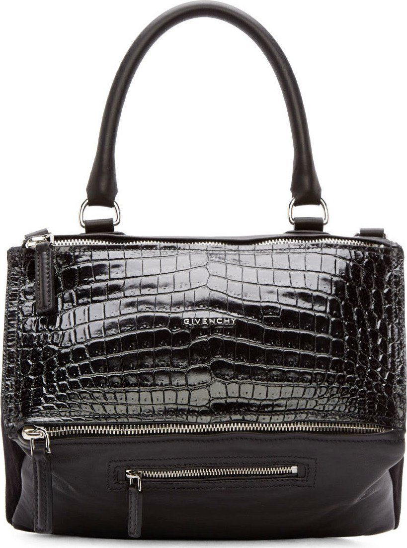78dd07f5dd39 Givenchy  Black Croc Embossed Leather   Suede Pandora Medium Bag ...