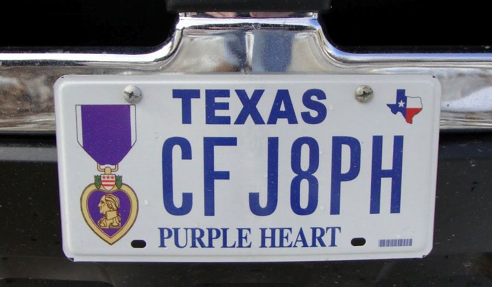 A special texas license plate is a mark of honor for a