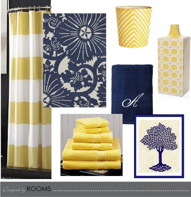 I am not a huge fan of yellow and navy but new bathroom for Navy and white bathroom accessories