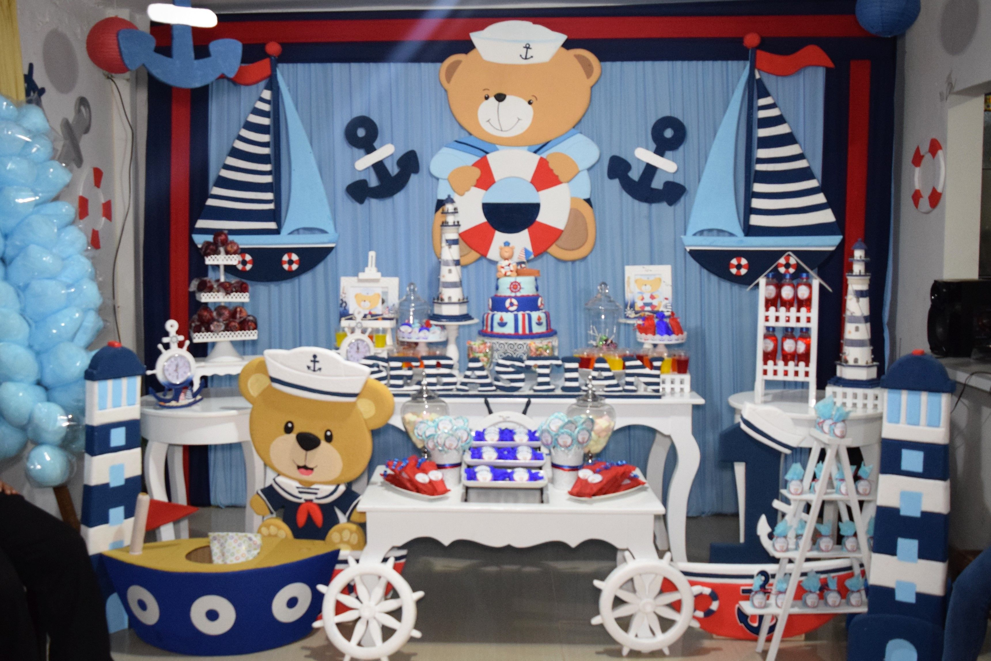 Decoraci n de oso marinero para ni o con mesas vintages for Decoracion nautica infantil