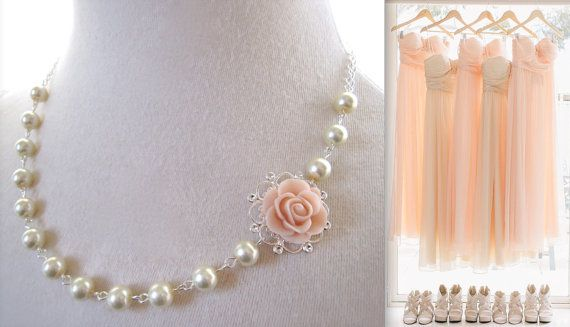 Blush necklace pearls necklace Pink Blush Flower by JoolaDesigns