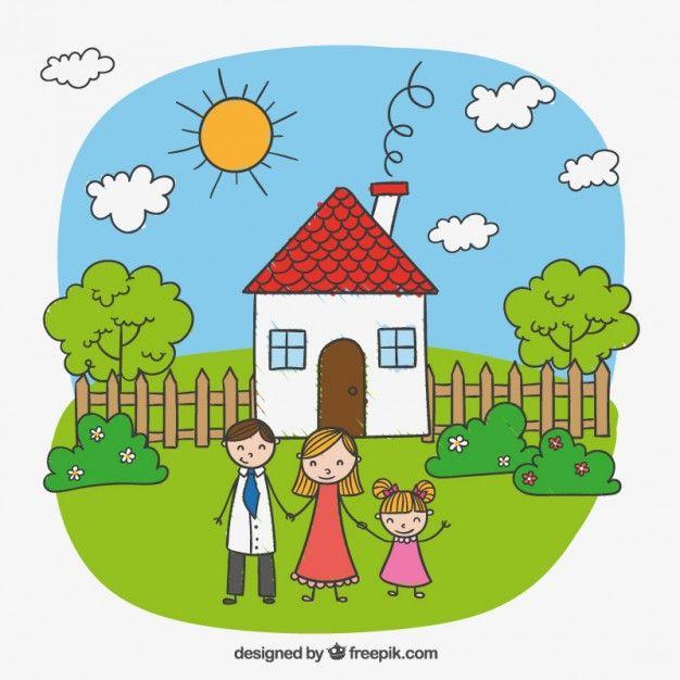 2ed51efc48d28 Dibujo infantil de una familia feliz