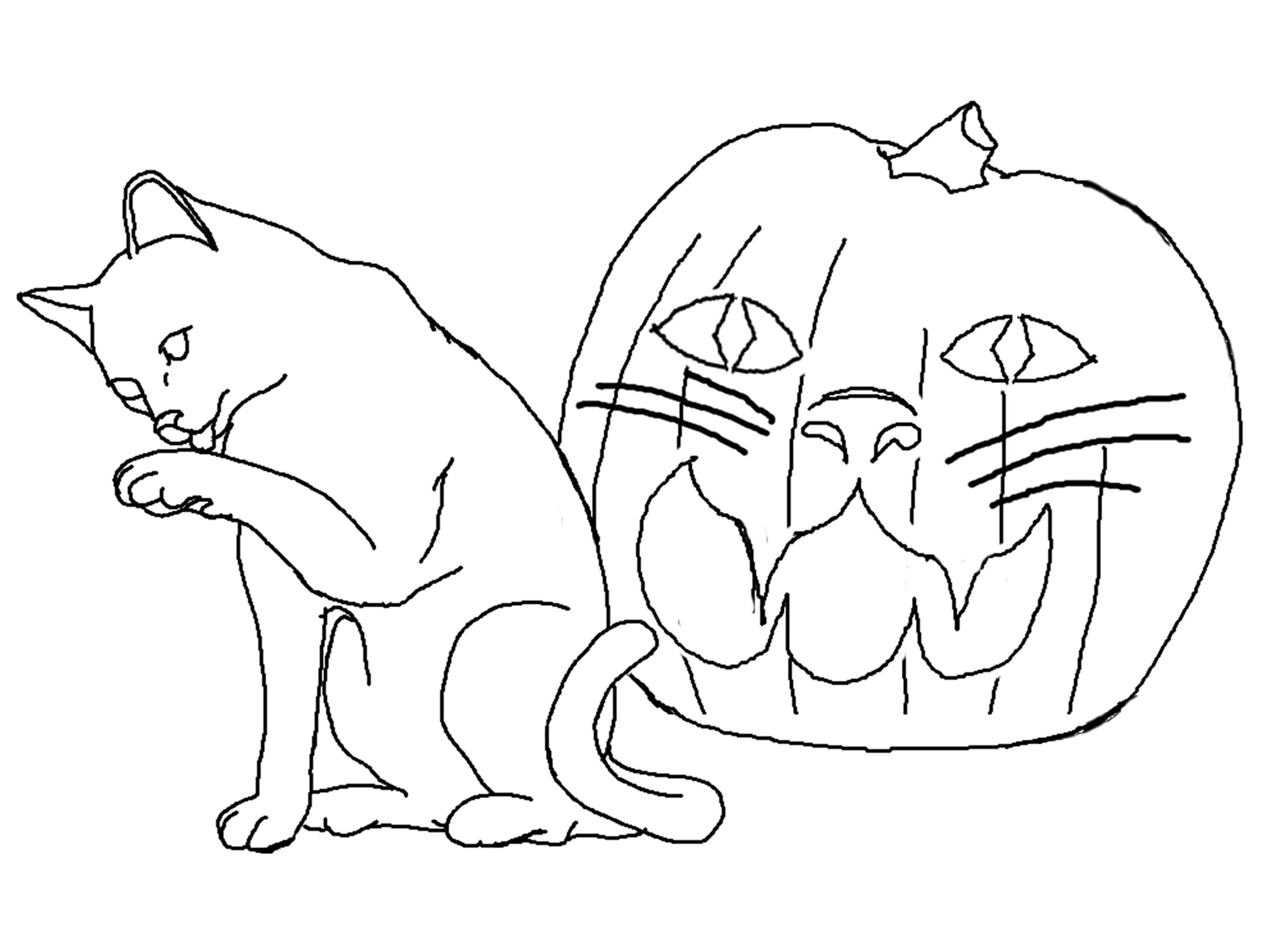 Halloween-Cat-Coloring-Pages.jpg (3232×2400) | coloring pages ...