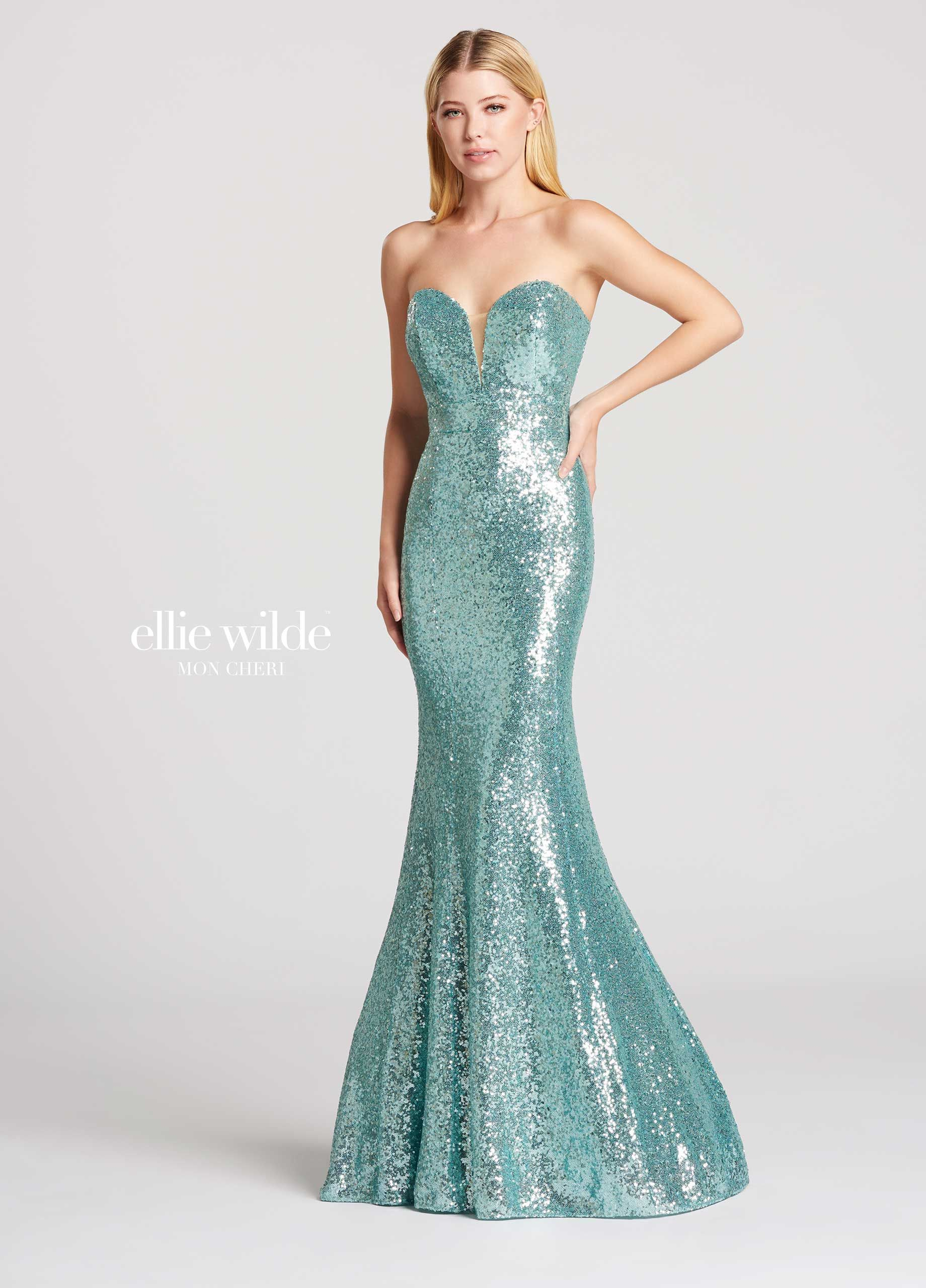 Strapless Sequin Fit & Flare Sweetheart Prom Dress - EW117033 ...