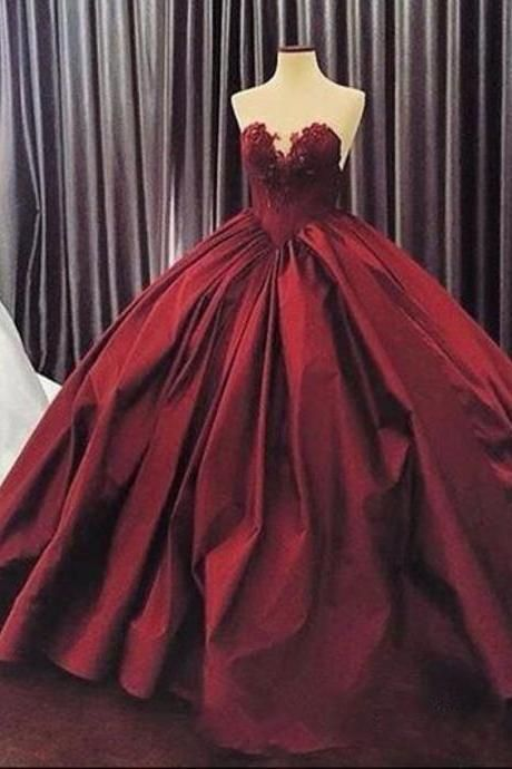 Burgundy Quinceanera Dresses,Puffy Ball Gown Lace Quinceanera Dress ,Long Prom Dress,Party Dress -   15 dress Quinceanera burgundy ideas