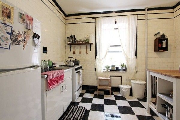 black and white floor tile kitchen. A Vintage Chic Brooklyn Kitchen  White Tile KitchenTile FloorsWhite floors flooring
