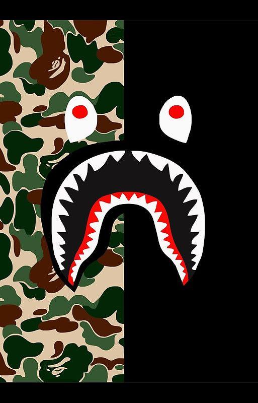 Bape Shark Pattern Wallpaper Ponsel Latar Belakang Seni