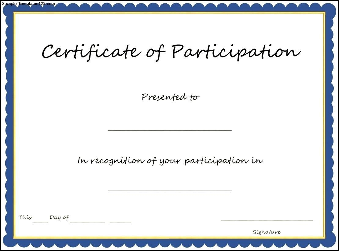 Template For Certificate Of Participation Trisaorddiner