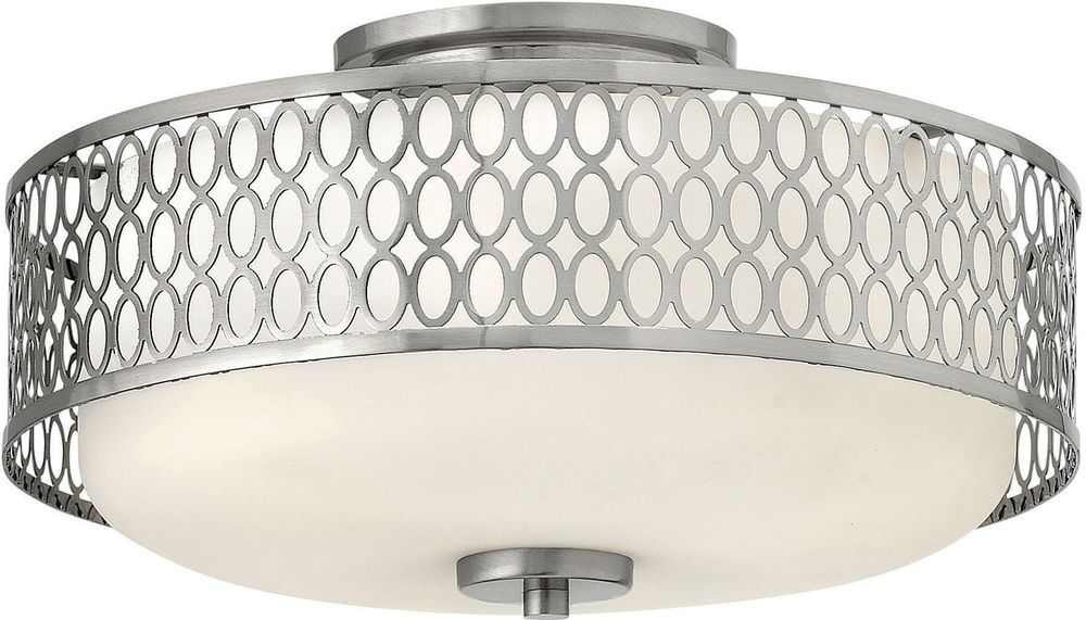 Hinkley 53241BN-GU24, Jules Glass Semi Flush Ceiling Lighting, 3LT CFL, Nickel #Hinkley