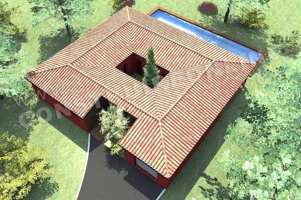 Terrasse sur le toit et patio central jardinagem afins Pinterest - avantage inconvenient maison ossature metallique