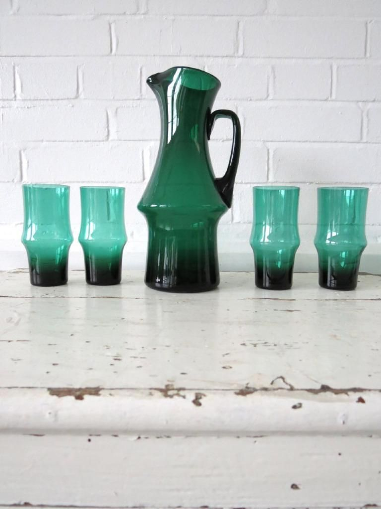 Vintage Scandinavian Glass Water Pitcher Jug With 4 Drinking Glasses Kaj Franck