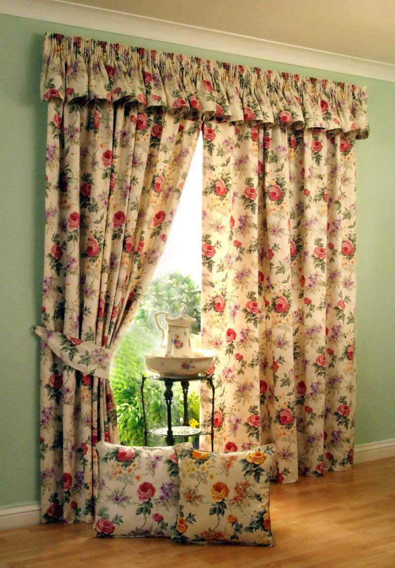 Red patterned curtains - Decoration Flower Motives Pleat Curtain Curtains Rods Lacy Knitted Fabric Glass Window Treatment Frame Brown
