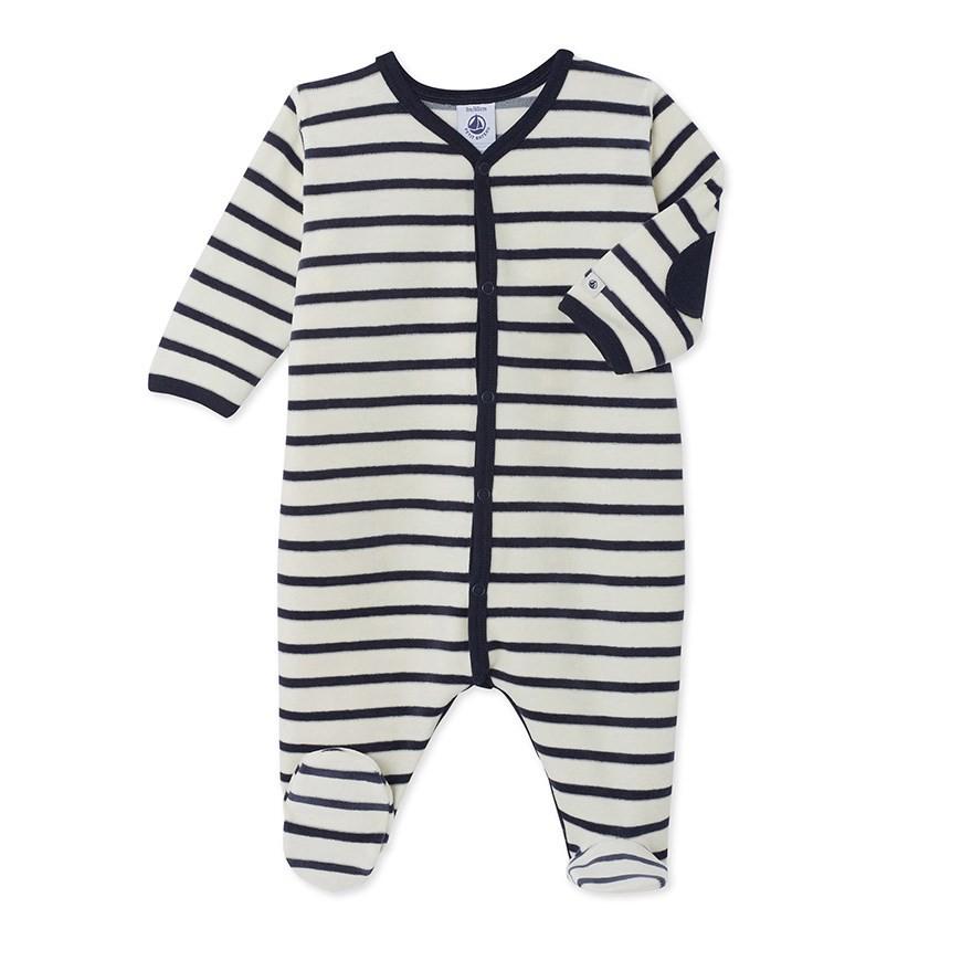d65bc64fdae5 Petit Bateau Unisex Baby s Striped Velour Sleeper - 1 M (21 Inches ...