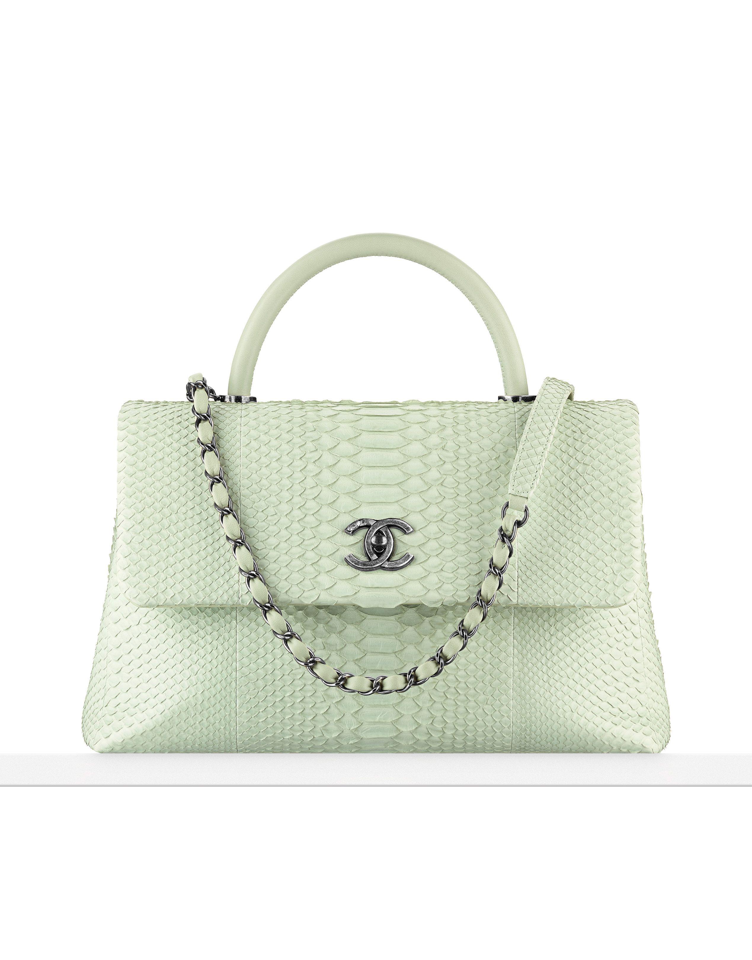 86270b74f3a1 Flap bag with handle, python & lambskin-light green - CHANEL ...