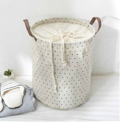 Laundry Bags With Handles Cotton Linen Storage Basket Large Dot Clothes Storage Baskets With