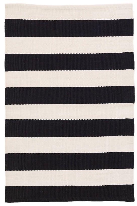 Catamaran Stripe Black Ivory Indoor Outdoor Rug