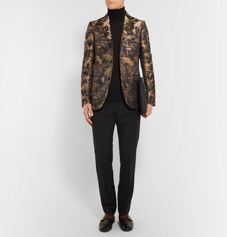 e2b982fc1 GUCCI Black And Gold Slim-Fit Jacquard Tuxedo Jacket €1,950 ...