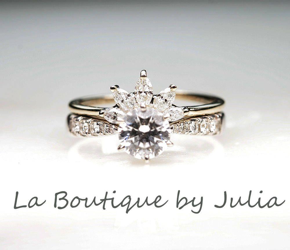 Diamondmoissanite engagement bridal setmoissanite engagement ring