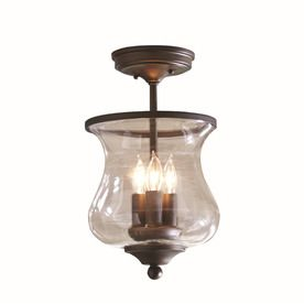 allen + roth 8.68-in W Olde Bronze Clear Glass Semi-Flush Mount Light living room $70