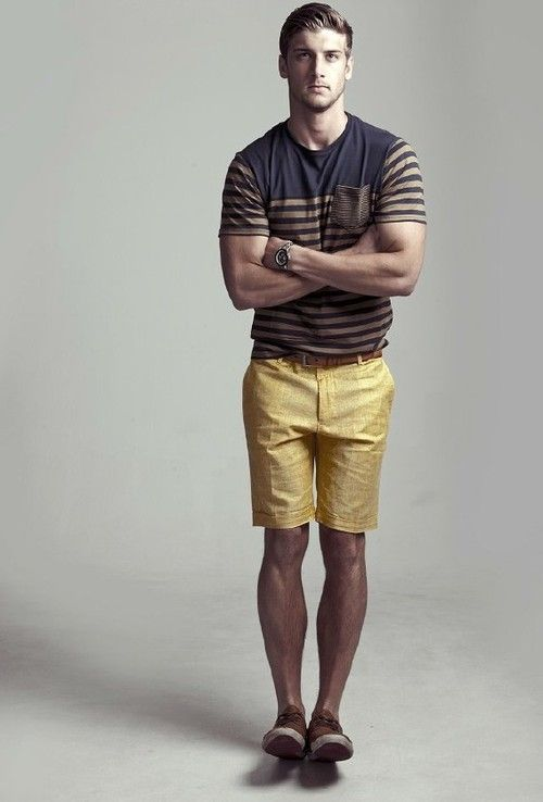 Summer wear with mustard bermudas and navy themed t-shirt. | we ...