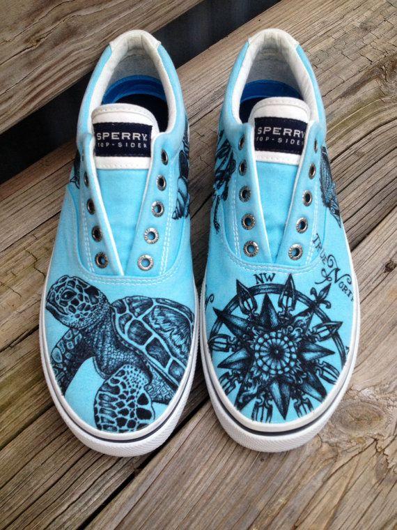 47e1322eb7 Size 10 please and thank you! Nautical Beach Sea Turtle Shoes