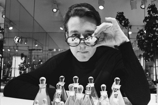 "Roy Halston in front of his perfume named ""Halston"", designed by Elsa Peretti (c.1975)"