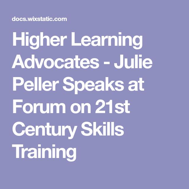 Higher Learning Advocates Julie Peller Speaks at Forum