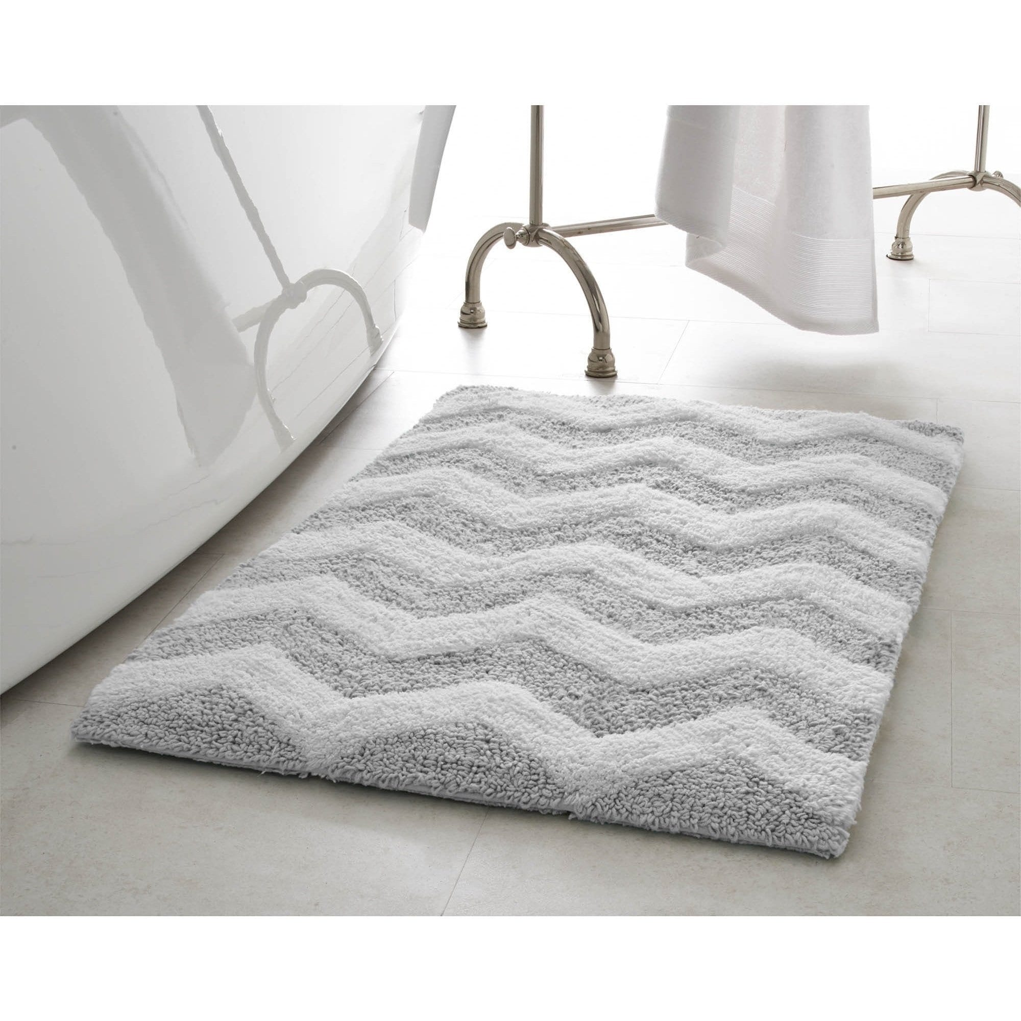Jean Pierre Reversible Cotton Zigzag 2 Piece Bath Mat Set Bath Mat Sets Plush Bath Mats Bath Mat