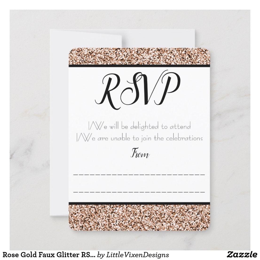 Rose Gold Faux Glitter RSVP / Response Card Zazzle.co.uk