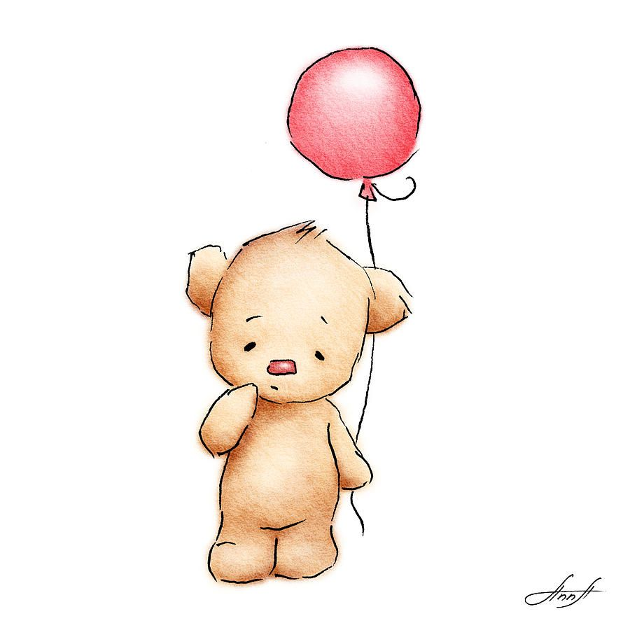 Teddy Bear With Red Balloon Printables Baby Animal