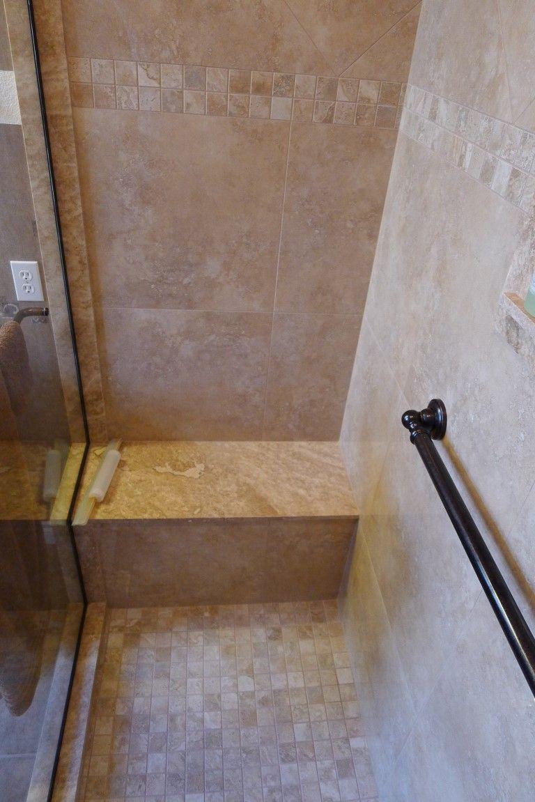 Tiled Shower Edge carmel travertine: shower sills, bull nose around top edge of tile