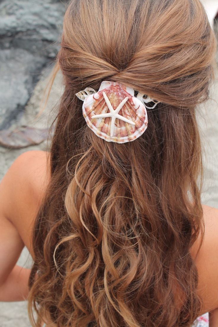 mermaid hair comb, starfish and seashell accessory, beach wedding