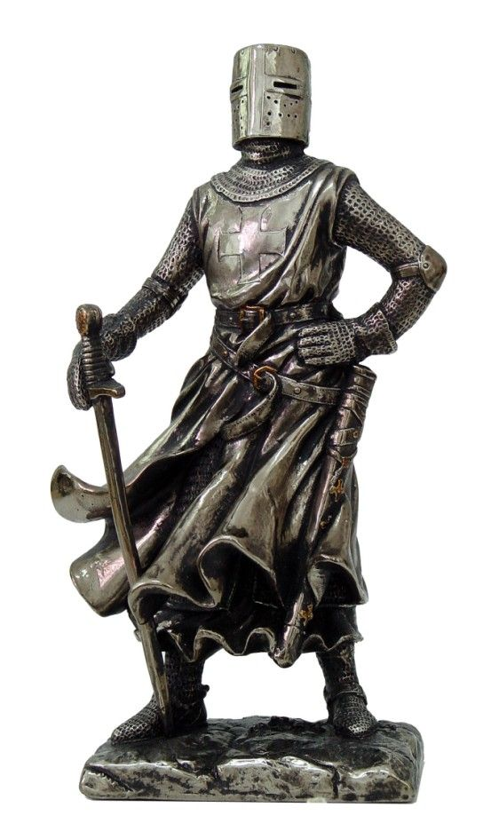 Crusader Medieval Knight W Full Armor Helmet And Sword Figurine Statue Chivalry Crusader Knight Medieval Knight Statue